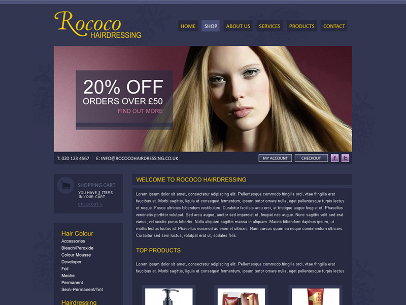 Salon eCommerce Web Design